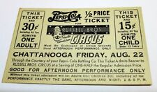 1941 Vintage Circus Ticket Russell Bros Circus Chattanooga TN Pepsi sponsor