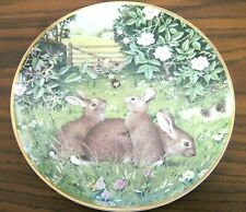 """Franklin Porcelain 1981 The Woodland Year """"Rabbits in a July Field"""" Plate"""