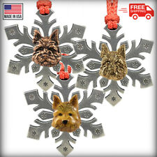 Pewter Norwich Terrier Snowflake Christmas Tree Ornaments, Made in the Usa