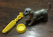 Vtg 1981 Barbie Beauty and Puppies Replacement Gray Puppy Dog, Food Bowl, Brush