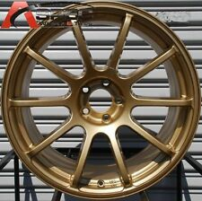 18X9 ROTA G FORCE WHEELS 5X114.3 GOLD RIMS +30MM FITS CIVIC ACCORD TIBURON