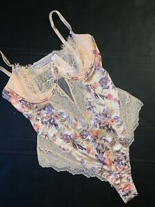 NWT Victoria's Secret L TEDDY one-piece Bodysuit Orange Apricot Blue Floral Lace