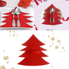 4PCS Fork Tableware Holder Cutlery Bag Red Christmas Tree Xmas Party Decoration