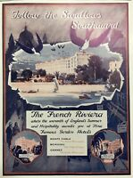 1926 French Riviera Gordon Hotels Vintage Travel Print Ad Cannes Monte Carlo