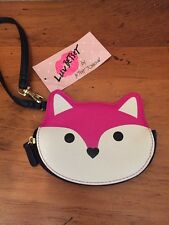 "LUV BETSEY BETSEY JOHNSON HOT PINK  ""FOX"" COIN CHANGE PURSE-WRISTLET- NWT$38"