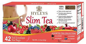 Hyleys Slim Tea Assorted Tea Collection 42 Tea Bags Promotes Weight Loss