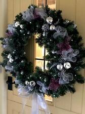 Christmas Door Wreath Luxury Quality Bauble Sprays Silver Purple Poinsettia 60cm