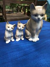 Otagiri Cat and 2 Kittens Figurines Glazed Porcelain Made in Japan