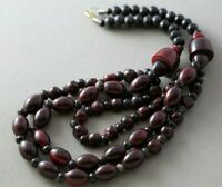 "Multi Strand Vintage Dark Red Ethnic Boho Bohemian Beaded 20"" Necklace"