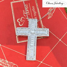 925 Solid Sterling Silver Large Cross Cubic Zirconia Big Pave Necklace Jewellery