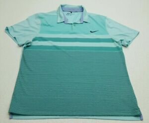 Nike Golf Mens Polo Shirt Green Blue Striped Size Large NikeGolf Tennis