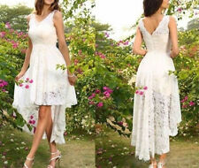 New High Low Lace Beach Wedding Dress Bridal Gown Prom Custom Size 6-24+++