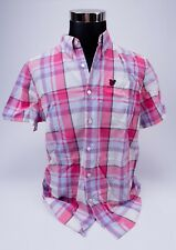 Mens Lyle and Scott Short Sleeved Shirt Size L - Pink Checked