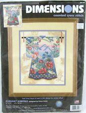 Dimensions Elegant Kimono Cross Stitch Kit #35107 USA Half Cross Lotus Asian New