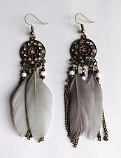 Stunning Dove Grey Native American Dream Catcher Statement Drop Feather Earrings