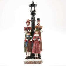 Holiday Time 18 Inch Resin Christmas Carolers Lampost Singers Indoor Or Outdoor