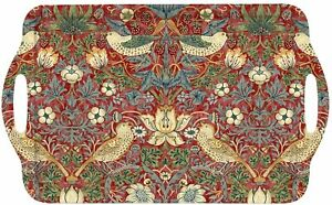 William Morris Red Strawberry Thief Bird Melamine Tray Small Medium Large