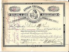 ANGLO TEUTONIA BUILDING & LOAN ASSOCIATION (MEMPHIS)....1887 STOCK CERTIFICATE