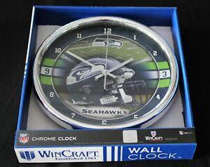 WinCraft Seattle Seahawks Chrome Clock In Original Box