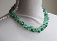 "GREEN AGATE LONG LINE NECKLACE 35.5"" LENGTH"