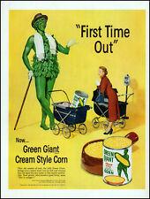 1952 Jolly Green Giant baby stroller Green Giant corn retro photo print ad adL92