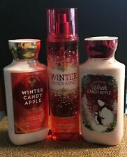 Set Of Bath & Body Works Winter Candy Apple Lotions and Body Mist
