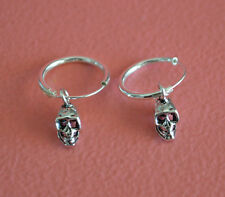 925 Sterling Silver Small Hoop w/ Dangling Gothic Skull Earrings Jewelry