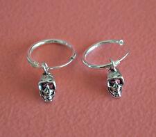 925 Sterling Silver Small Hoop w/ Dangling Gothic Skull Earrings Jewelry