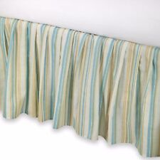 Natural Shells Queen Bedskirt : Aqua Striped Beach Dust Ruffle Bed Skirt