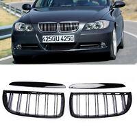 Kidney Grill Grille Matte 2Line Black ABS For BMW 3 Series E90 Sedan 4-D 05-08