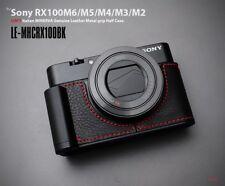 LIM'S Leather Metal Grip Half Case for Sony RX100M6 RX100M5 RX100M4/M3/M2 Black