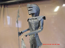 "Handcrafted vintage metal folk art 14 1/2"" tall  Knight in Armor   FREE SHIPPING"