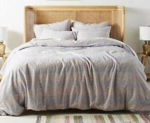 NWT Anthropologie Rainier Percale Bed Set Queen Duvet, 2 Euro Shams, 2 Std Shams