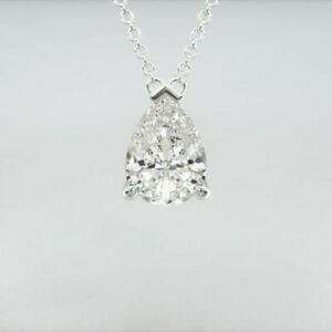 2 Cts (8 x 5 mm) Point Up Pear Cut Moissanite Stud Pendant 9k Solid White Gold