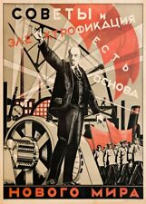 Soviet constructivisme Soviétiques et électrification propagande russe Poster