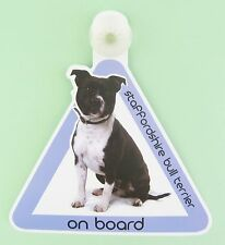 On Board Dog Car Sign Staffordshire Bull Terrier on Board Suction Cap provided