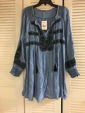 Defect New$148 Free People Wind Willow Embroidered Mini Dress River Skies Blue M