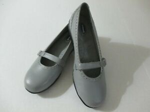 DR.SCHOLL'S GRAY LEATHER SINGLE STRAP SHOES SIZE 9 M DOUBLE AIR PILLOW INSOLE