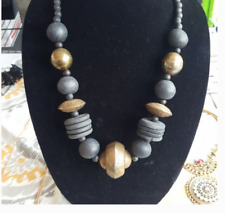 Vintage Big chunky India Wood Metal Necklace
