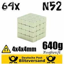 64x Neodym Magnet Würfel 4x4x4 N52 - Whiteboard Magnete Bastelmagnet stark