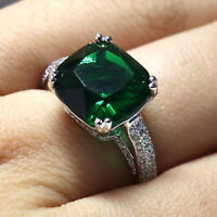 4 Ct Princess Green Emerald Ring Women Jewelry 14K White Gold Plated Free Ship