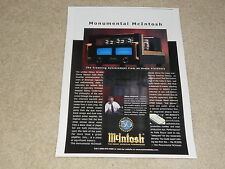 McIntosh MC2000 Tube Amplifier Ad, 1999, 1 page, Beautiful, FRAME IT!
