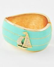 Boutique Aqua & Gold Crystal SAILBOAT ANCHOR Hinged Cuff Bangle Bracelet NWT