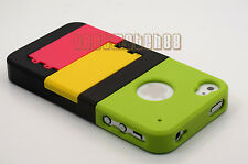 for iphone 4 4g 4s phone case hard slid in w/ kick stand + protector film /
