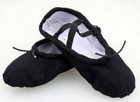 KIDS GIRLS WOMENS LADIES BLACK CANVAS COMFORTABLE BALLET DANCE FLATS FLAT SHOES