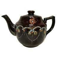 """Brown Glazed Pottery Teapot Moriage Hand Painted Vintage Made in Japan 8.25""""w."""