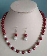 8MM white/wine South Sea Shell Pearl necklace earrings set AAA Grade V10
