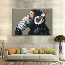 Monkey Canvas Print Painting Wall Art Animal Dj Monkey Headphone Large 24x36'
