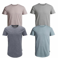 Jack & Jones New Mens Crew Neck Short Sleeve Longline T-Shirt Blue Navy Grey