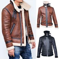 Winter Men's Fleece Lining Coat Suede Leather Thick Warm Outwear Biker Jacket NG